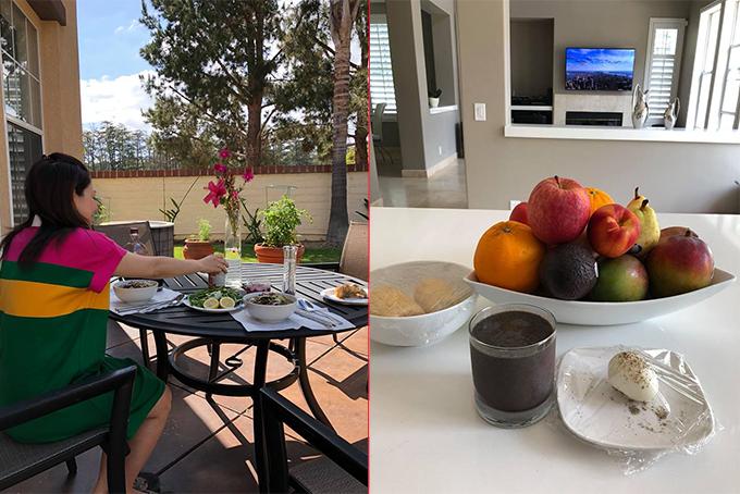 Từ khi mang bầu ở tháng thứ năm, Thanh Thảo nghỉ hát để ở nhà tịnh dưỡng (ảnh trái). Ngày nào cô cũng được ông xã chuẩn bị bữa ăn sáng đơn giản nhưng đầy đủ dưỡng chất (ảnh phải).