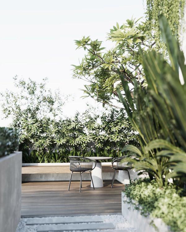 Góc sân vườn nhà người đẹp phủ đầy cây xanh nhìn rất yên bình, mát mắt.