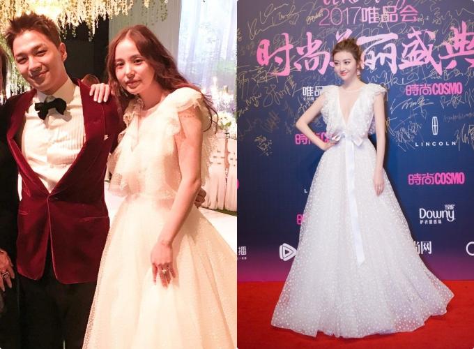 Mẫu váy này cũng từng được Min Hyo Rin mặc trong đám cưới và Cảnh Điềm diện khi đi dự sự kiện.