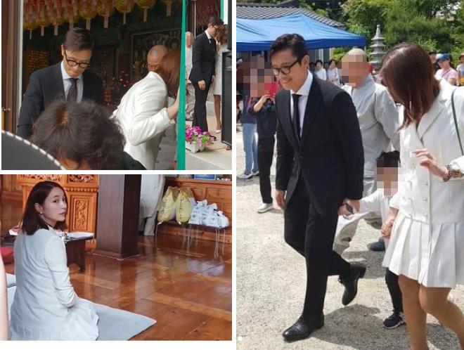 Lee Byung Hun và vợ con đi chùa cầu an.