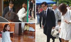 Vợ chồng Lee Byung Hun đưa con trai lên chùa cầu an
