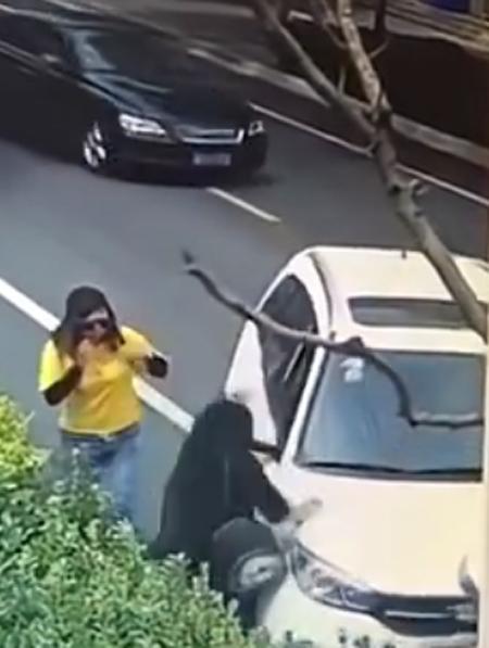 Người phụ nữ mặc áo đen bị xe tông vào người trước khi cô này lấy gạch ném vào xe.