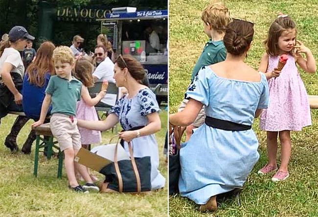 Kate quỳ xuống chăm sóc cậu con cả George trong khi Charlotte tự cầm kem ăn. Ảnh: Jack Schmollmann.