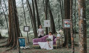 Ảnh cưới chụp trong rừng của cặp uyên ương yêu nhau gần một thập kỷ