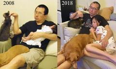 Ông bố Hong Kong năm nào cũng chụp ảnh cùng con gái và thú cưng