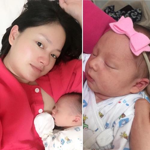 Lan Phương chịu nhiều đau đớn nhưng hạnh phúc trong lần đầu làm mẹ.