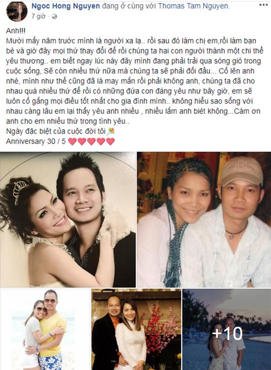 Hồng Ngọc viết lời ngọt ngào dành cho chồng trong dịp kỷ niệm 9 năm ngày cưới.