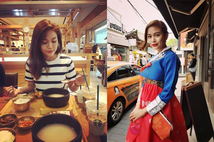 Mâu Thủy cùng các blogger du lịch tiếng tăm như Thiên Minh, Nhị Đặng tham gia một tour cao cấp khám phá 3 thành phố ở Hàn Quốc. Ngày đầu tiên, nàng Á hậu được ăn ngon ở nhà hàng gắn sao Michelin, trải nghiệm spa, chụp ảnh streetstyle trong khí hậu mùa xuân mát mẻ ở xứ kim chi. Ngày thứ 2, cô nàng được thử mặc trang phục hanbok truyền thống Hàn Quốc. Con đường gần trung tâm này có hơn 20 cửa hàng với dịch vụ cho thuê đồ và sẽ có người làm tóc cho mình để phù hợp với đồ và phụ kiện. Không khí, cảnh quanvà con người xung quanh làm cho mình có thêm một khí chất khác hơn. Sau những ngày được trải nghiệm Seoul một cách chân thật nhất về tới khách sạn lòng vẫn còn chưa nguôi ngoai, cô chia sẻ.