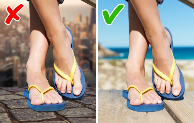 Việc mang giày thể thao hay giày da vào những ngày nóng nực rõ ràng không thoải mái chút nào. Tuy nhiên, đừng bao giờ có ý định mang dép lê hay dép xỏ ngón đến công sở. Hãy thay thế bằng dép sandals hoặc kiểu giày dép bằng vải dành cho mùa hè. Cũng đừng quên chăm sóc móng chân để khiến diện mạo của bạn hoàn hảo hơn.