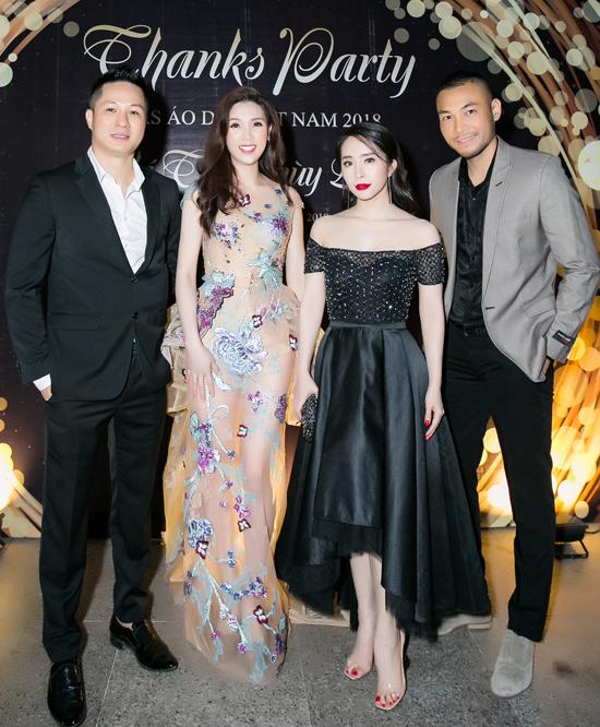 Vợ chồng Quỳnh Nga - Doãn Tuấn sóng đôi đến chúc mừng Thuỳ Linh trở thành Mrs Áo dài 2018.