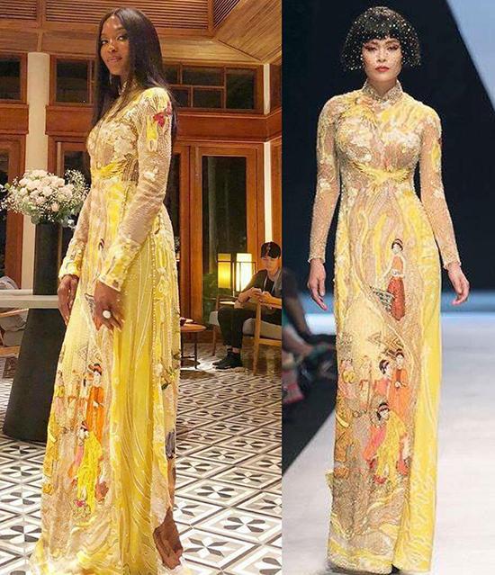 Trang phục Naomi sử dụng là mẫu áo dài thêu hình ảnh truyện cổ tích Việt Nam - đây là một trong những mẫu thiết kế kỳ công nhất của Công Trí thuộc bộ sưu tập CoCo yêu dấu vừa được trình làng tại Tuần lễ thời trang quốc tế Việt Nam.