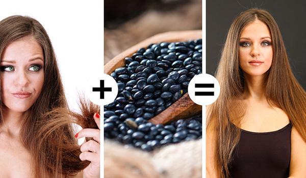 Dùng đậu lăng đen xay nhuyễn trộn với một chút sữa chua tạo thành mặt nạ trị tóc chẻ ngọn.