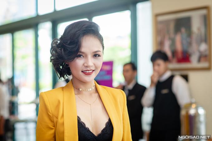 Diễn viên Thu Quỳnh tại buổi họp báo chiều 4/6. Ảnh: Thành Đạt.