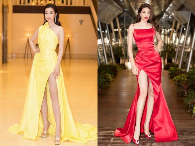 Tuy nhiên, với những màu sắc nổi bật, nghệ sĩ vẫn nên cân nhắc lựa chọn một đôi giày ton-sur-ton. Đặc biệt, khi diện váy xẻ cao như Hoa hậu Mỹ Linh, Phạm Hương, đôi giày cao gót cũng trở thành phụ kiện, tăng thêm phần hoàn hảo cho ngoại hình.