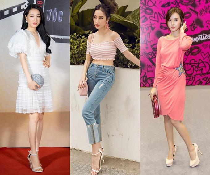 Mang giày size rộng: Việc mang giày cao gót đôi khi là một cực hình với nhiều sao Việt. Đôi giày ôm sát chân, cọ xát khi di chuyển sẽ gây ra nhiều đau đớn cho chủ nhân. Do đó, các nghệ sĩ thường chọn giải pháp chọn size rộng hơn đôi chân khoảng mộtsize. Sự chênh lệch vừa phải này vẫn giúp nghệ sĩ thoải mái di chuyển và không gặp nhiều chấn thương ở gót chân. Tại Việt Nam, diễn viên Nhã Phương (ngoài cùng bên trái)là người luôn áp dụng phương pháp này, thậm chí nhiều lần khiến cô bị oan chọn nhầm giày quá rộng.