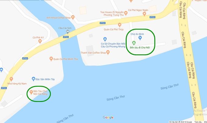 Hai bến tàu đi chợ nổi Cái Răng trên bản đồ.
