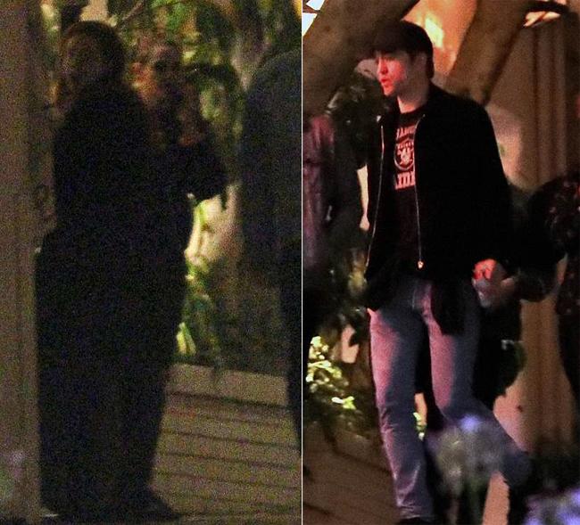 Kristen và Robert Pattinson trong vườn khách sạn Chateau Marmont vào cuối tuần qua.