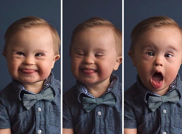 Những bức ảnh ghi lại biểu cảm của Asher, cậu bé mắc hội chứng Down.