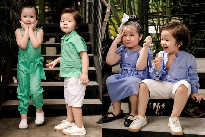 Hai cô cậu nhóc luôn kết hợp ăn ý trong những bức ảnh do mẹ Elly Trần chụp lại. Biểu cảm tự nhiên, đáng yêu khi diệnđồ đôi ton-sur-ton nhanh chóng chiếm trọn tình cảm của khán giả.
