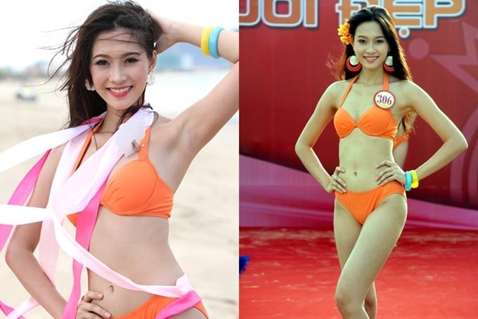 Hoa hậu Đặng Thu Thảo có thân hình mảnh khảnh tại chung kết cuộc thi cấp quốc gia năm 2012. Thời điểm cách nay 6 năm, cô cao1,73m và số đo83-60-90.