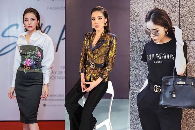 Thắt lưng Gucci: Hoa hậu Kỳ Duyên ưu ái chiếc thắt lưng da, có khóa là logo Gucci lồng vào nhau. Cô sử dụng phụ kiện này cho set đồ cả dạo phố lẫn đi sự kiện, ghi hình gameshow.