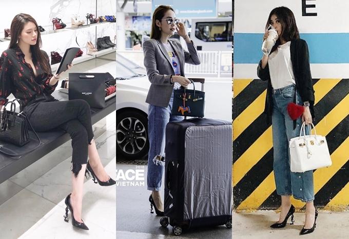 Đôi giày YSL: Món đồ này được chú ý bởi phần đế được cách điệu từ logo của hãng -Yves Saint Laurent