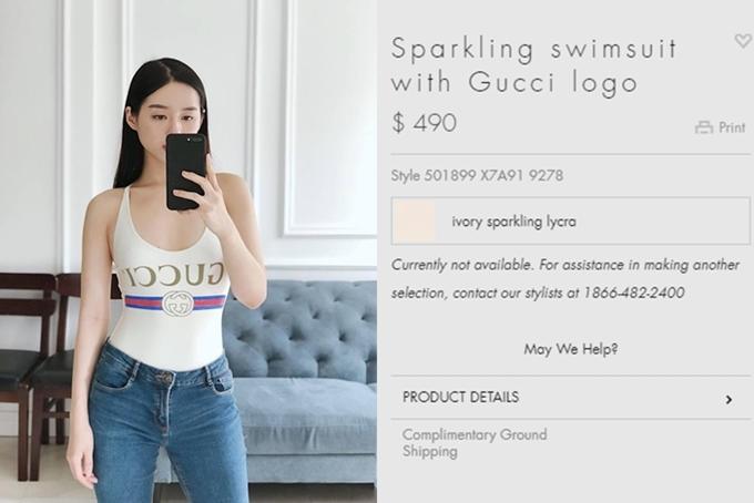 Người đẹp Khánh Linh The Face cũng chi đến 490 USD (hơn 11 triệu đồng) để sổ hữu mẫu áo tắm này.