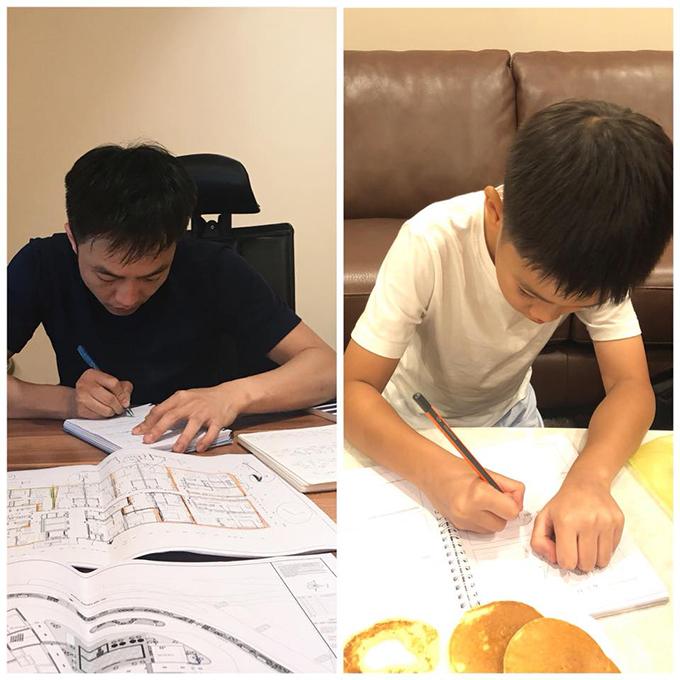 Hai cha con Cường Đôla và Subeo cặm cụi làm việc, học bài. Doanh nhân động viên con: Chúng ta cùng cố gắng nào.