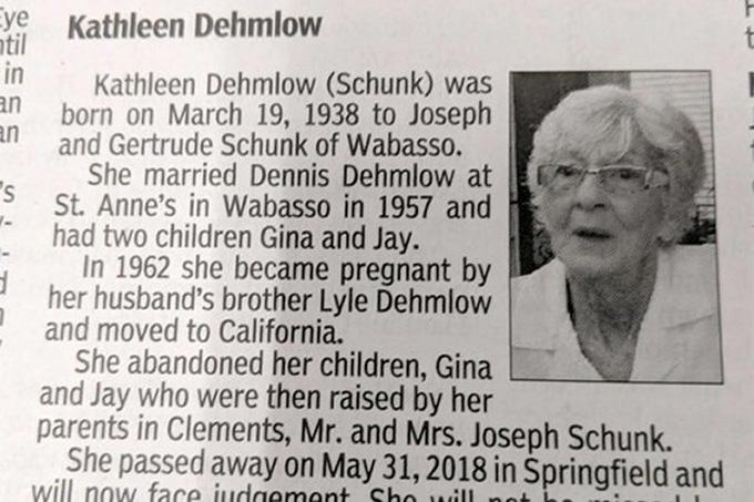 Lỗi lầm của bà Kathleen Dehmlow chưa được con cái tha thứ thậm chí kể cả sau khi bà qua đời. Ảnh:Redwood Falls Gazette.