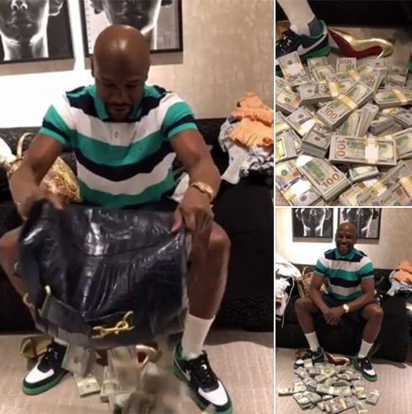 Mayweather trút tiền ra sàn nhà và cười khoái chí. Ảnh: Instagram.
