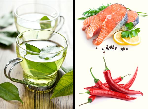 Tăng cường các thực phẩm hỗ trợ trao đổi chấtNghiên cứu đã chỉ ra rằng, uống 4 cốc trà xanh mỗi ngày giúp giảm cân, ổn định huyết áp. Hợp chất epigallocatechin gallate (EGCG) có rất nhiều trong trà xanh giúp tăng cường quá trình chống oxy hóa, làm tiêu hao năng lượng nhiều hơn 4%.Cá và các thực phẩm có vị cay giúp đốt cháy chất béo hữu hiệu. Bạn nên thêm các nhóm thực phẩm này vào thực đơn để có được cơ thể và vóc dáng khỏe khoắn.