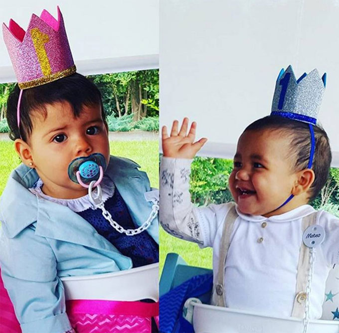 Hai nhóc song sinh của C. Ronaldo tròn một tuổi. Ảnh: NS.