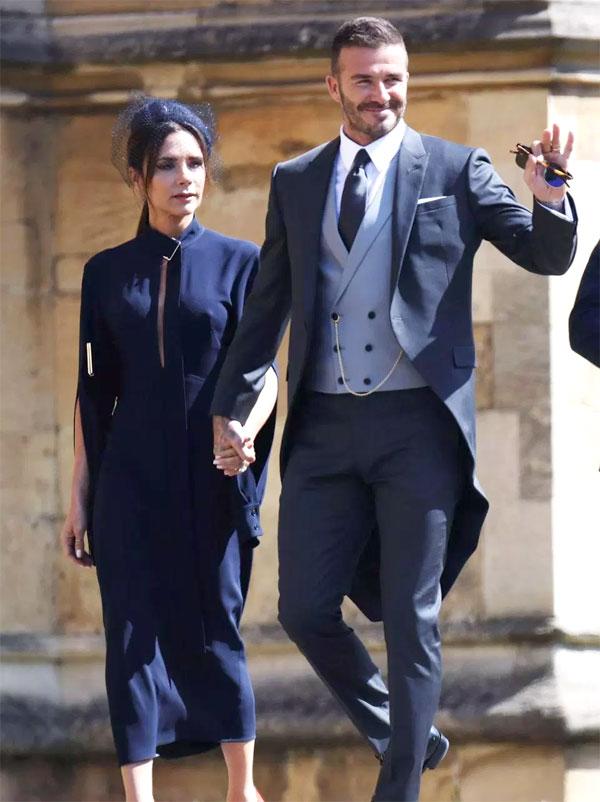 Becks - Vic ở đám cưới Hoàng tử Harry. Ảnh: NS.