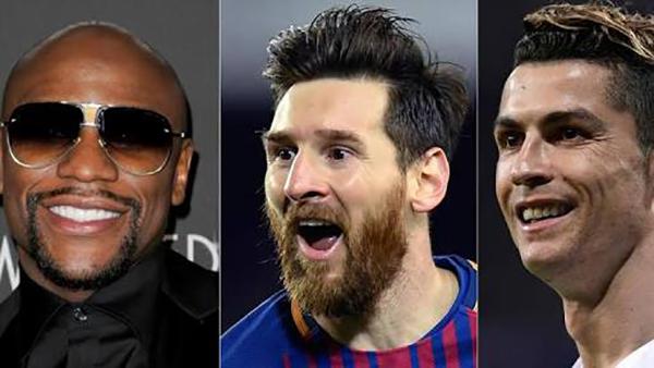 Mayweather, Messi và C. Ronaldo là ba VĐV có thu nhập cao nhất làng thể thao trong 12 tháng qua.