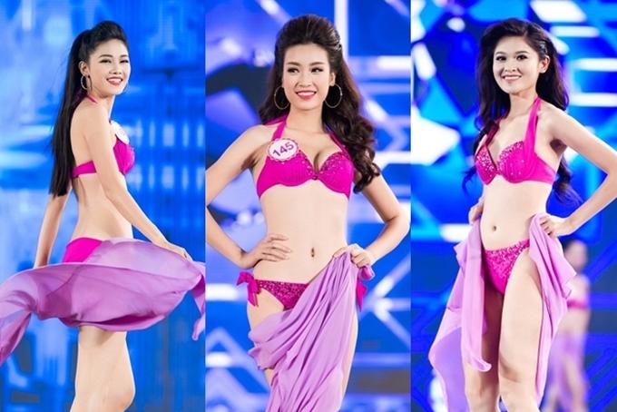 Top 3 Hoa hậu Việt Nam 2016 trình diễn bikini trong chung kết.