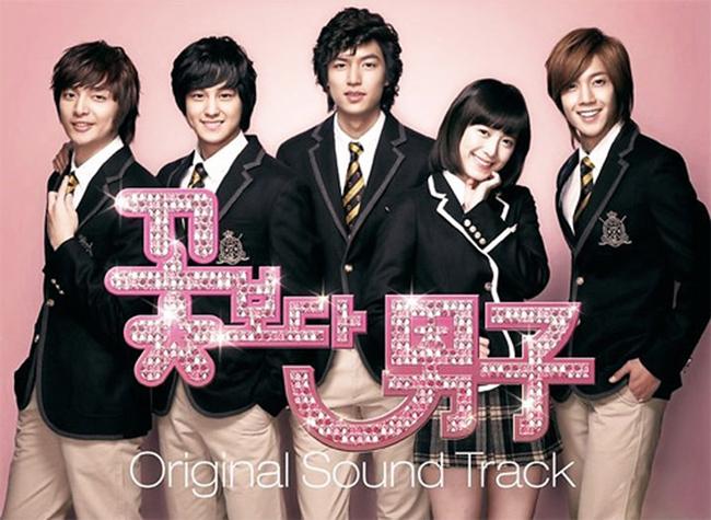 Kim Joon (ngoài cùng bên trái) trong dàn diễn viên Vườn sao băng.