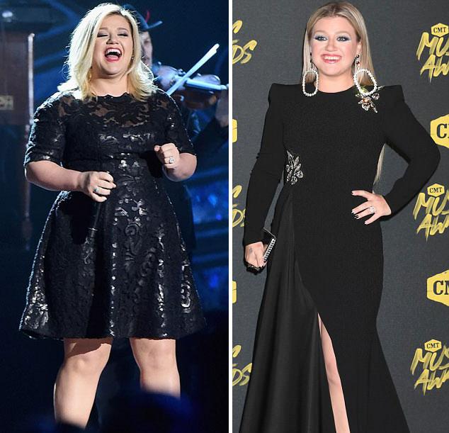Kelly Clarkson thon thả bất ngờ khi xuất hiện trong lễ trao giải âm nhạc hôm 6/6 (ảnh phải).