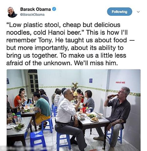 Ông Obama nhắc tới bún chả Hà Nội khi tiếc thương đầu bếp Anthony Bourdain