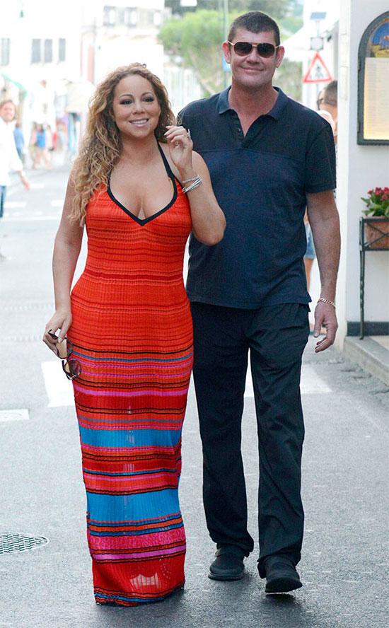 James Packer và Mariah Carey trong kỳ nghỉ năm 2015.