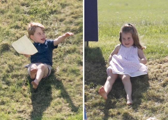 Charlotte hào hứng lộn ngược đầu, George rụt rè mếu máo khi cùng mẹ đi xem polo - 4