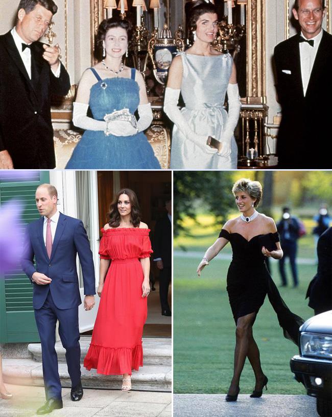 Nữ hoàng Elizabeth II (váy xanh, ảnh trên), công nương Kate và công nương Diana đều từng mặc trang phục hở vai.