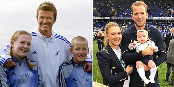 Harry Kane chuẩn bị làm đám cưới với cô bạn gái chụp ảnh chung cùng thần tượng Beckham cách đây 13 năm. Ảnh: AFP.