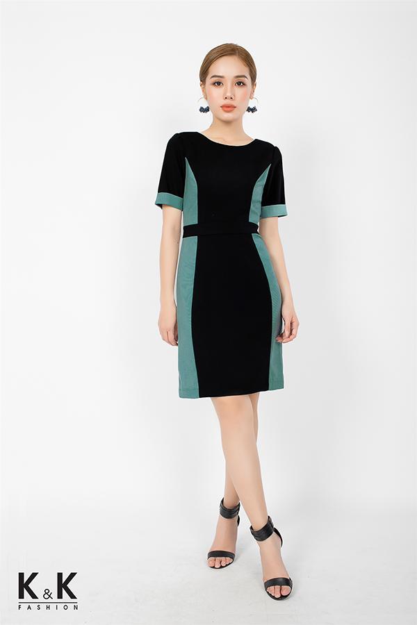 Đầm liền công sở phối màu hài hòa KK71-19; Giá: 420.000 VNĐ