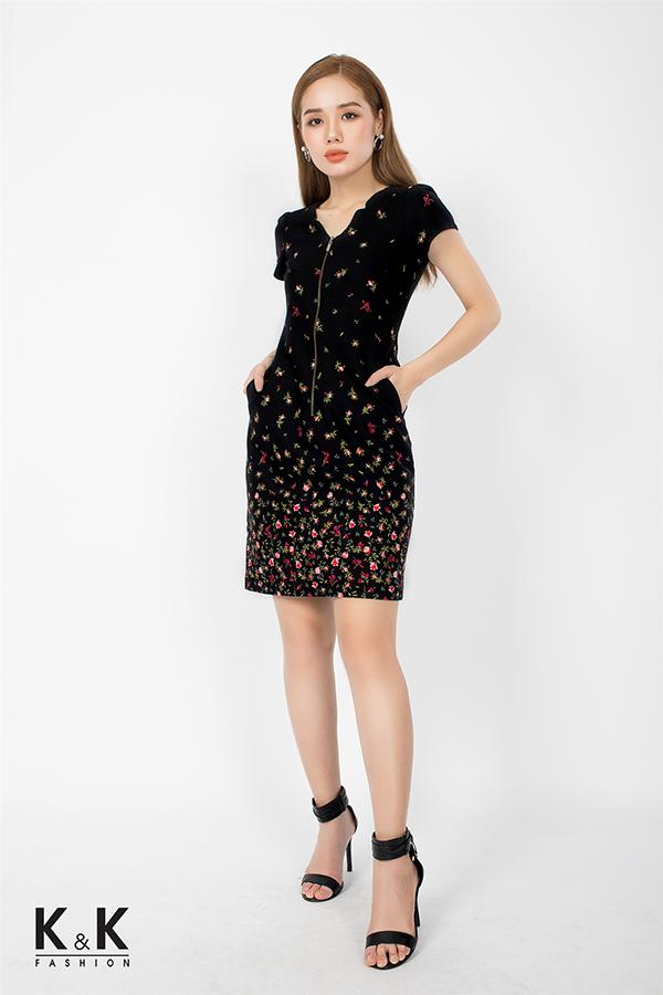 Đầm công sở họa tiết hoa nhiều màu phối dây kéo đồng KK74-39; Giá: 430.000 VNĐ
