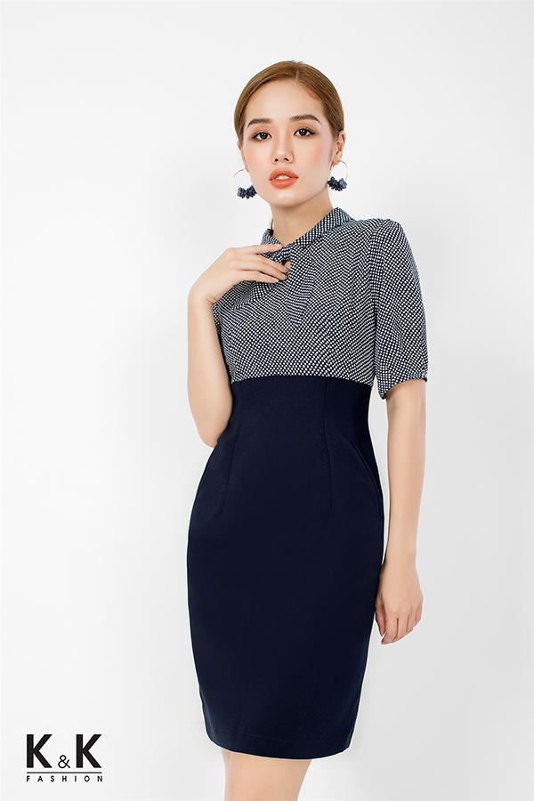Đầm liền công sở phối họa tiết chấm bi xinh xắn KK76-02; Giá: 430.000 VNĐ