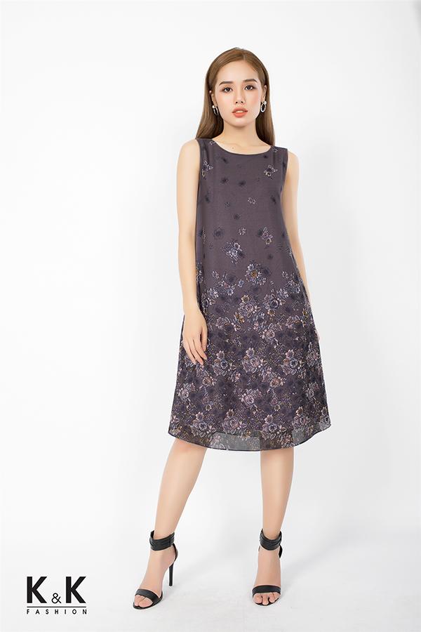 Đầm suông họa tiết hoa nền nã KK76-07; Giá: 420.000 VNĐ