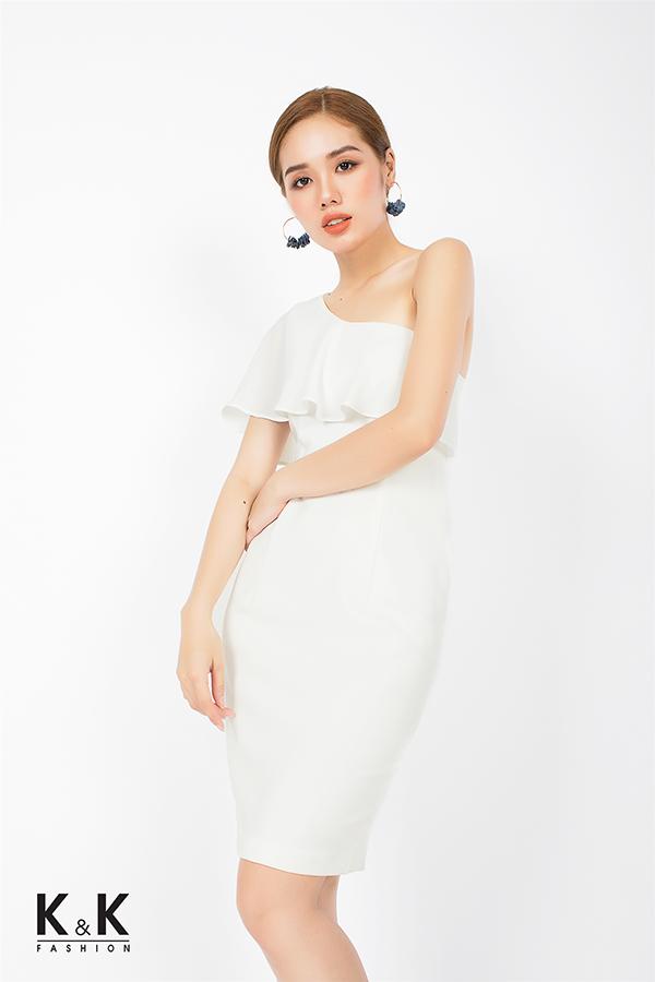 Đầm ôm body lệch vai viền bèo điệu đà KK74-13; Giá: 450.000 VNĐ