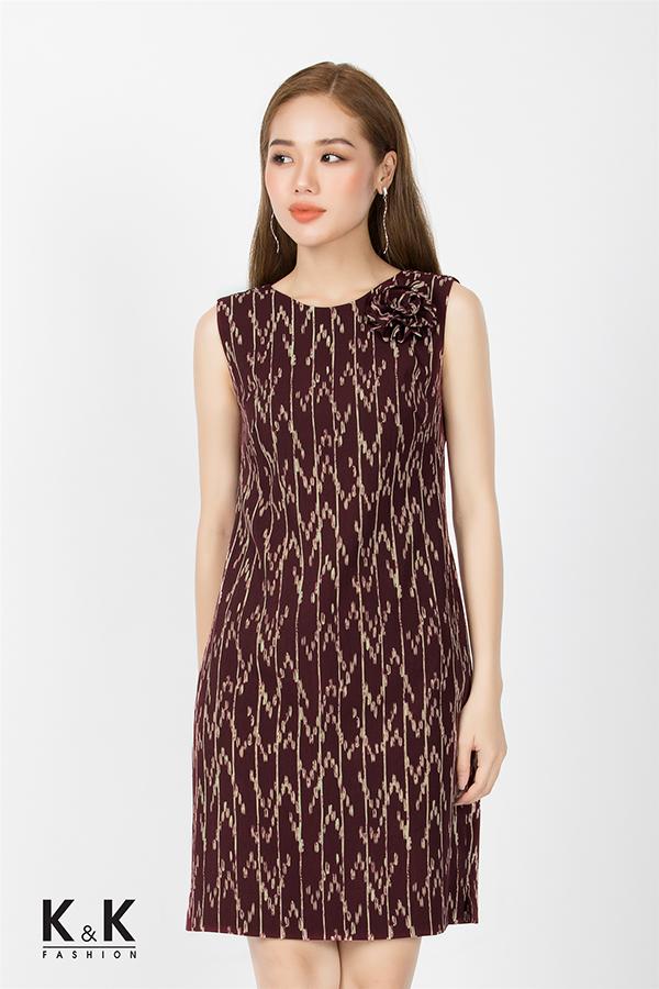 Đầm suông sát nách họa tiết lạ mắt KK74-38; Giá: 420.000 VNĐ