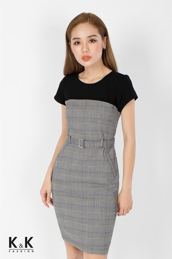 Đầm ôm họa tiết caro phối màu KK73-36; Giá: 420.000 VNĐ