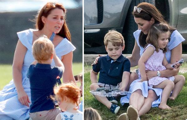 Kate không phản ứng khi con chĩa súng vào mình. Nữ công tước xứ Cambridge luôn giữ thái độ bình tĩnh và nhẹ nhàng khi chăm sóc hai con. Ảnh: Max Mumby.